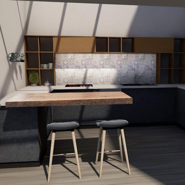 visuel 3D d'une cuisine qui mélange l'ancien et le moderne