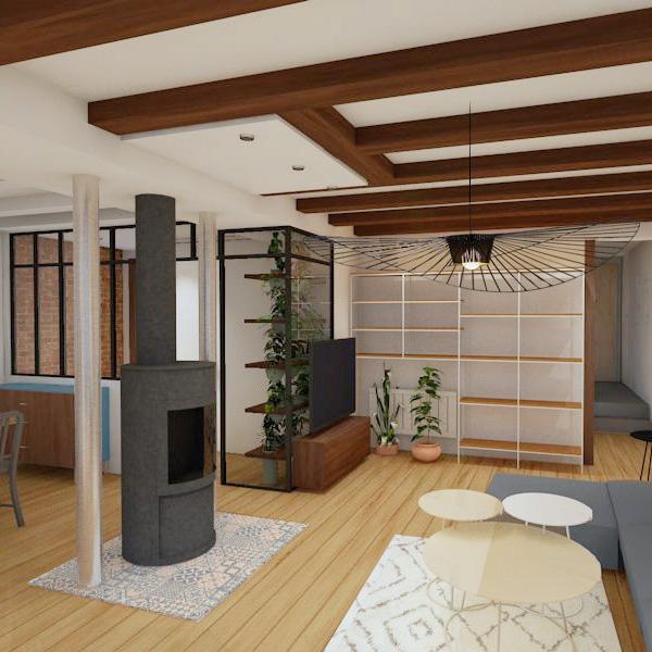 Visuel 3D d'un intérieur chaleureux à Annecy