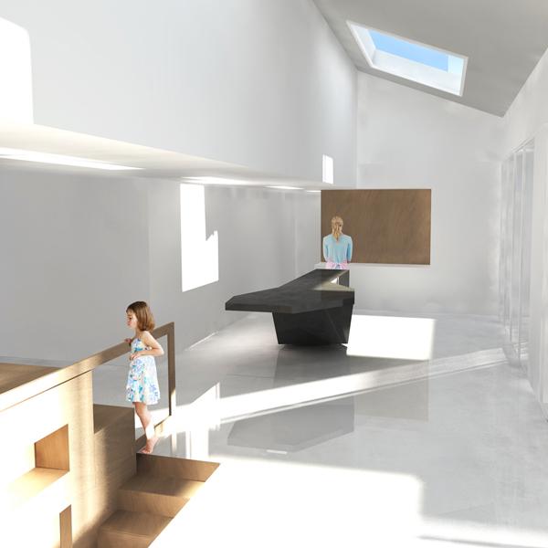 Visuel 3D d'un intérieur blanc minimaliste