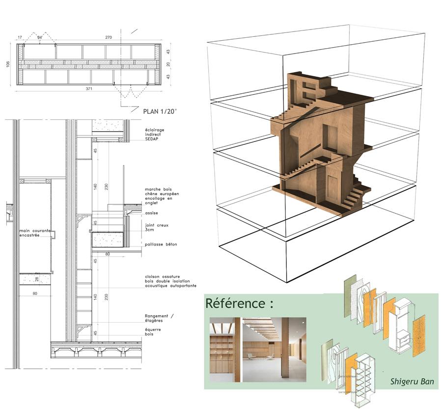 Coupe et visuel 3D escalier massif architecture intérieure, à Lyon