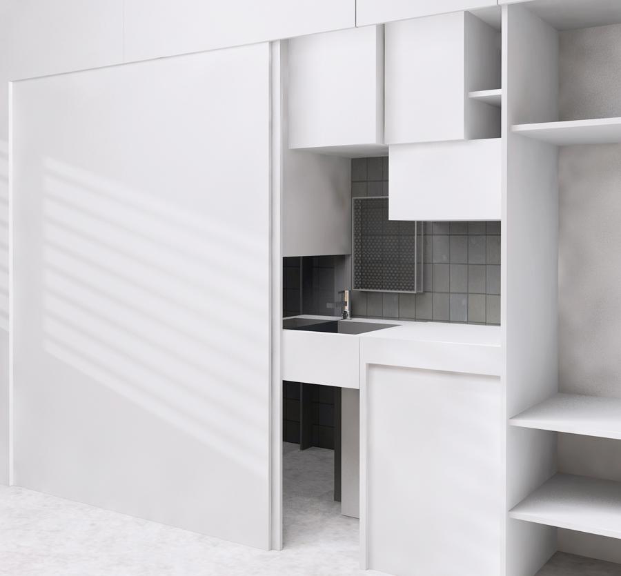 Visuel 3D d'une chambre étudiante optimisé par une architecte d'intérieure à Lyon