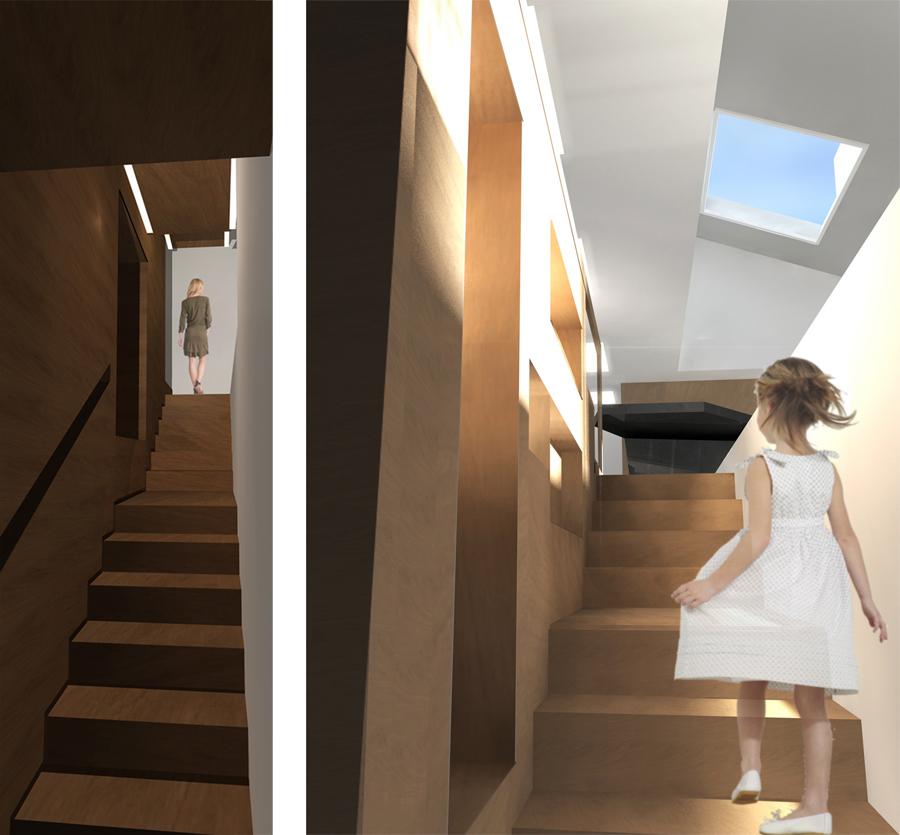 intérieur d'un escalier dans un projet d'architecture intérieure à Lyon