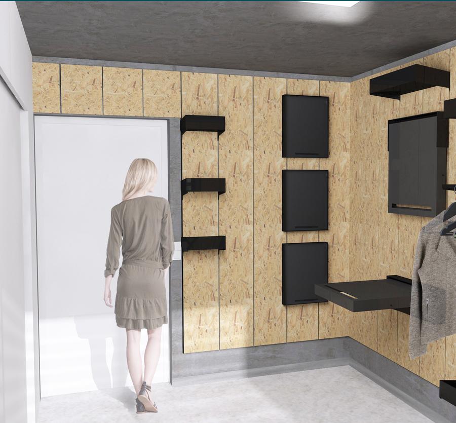 Visuel 3D d'une chambre étudiante optimisé par une architecte d'intérieure, à Lyon