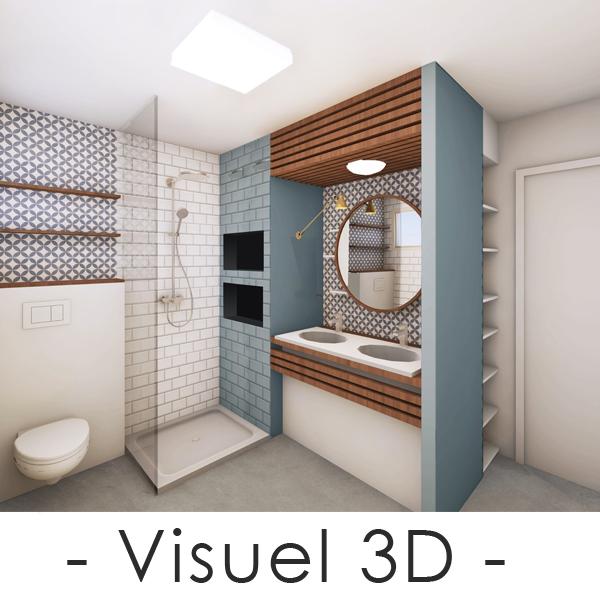 Visuel 3D d'une salle de bain bleue