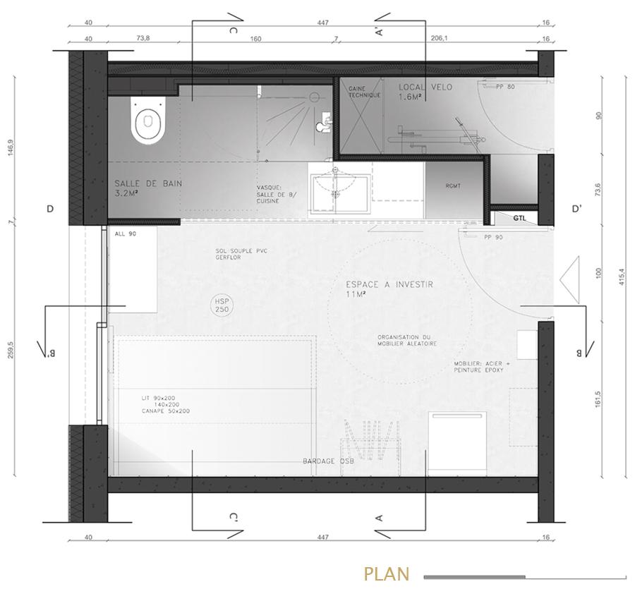 plan 2D d'un projet de chambre étudiante optimisé par une architecte d'intérieure à Lyon