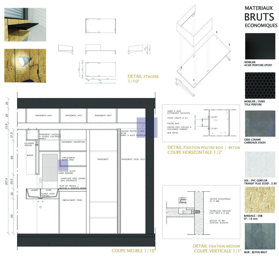 coupe et planche de materiaux d'architecture d'intérieure, optimisation petit espace