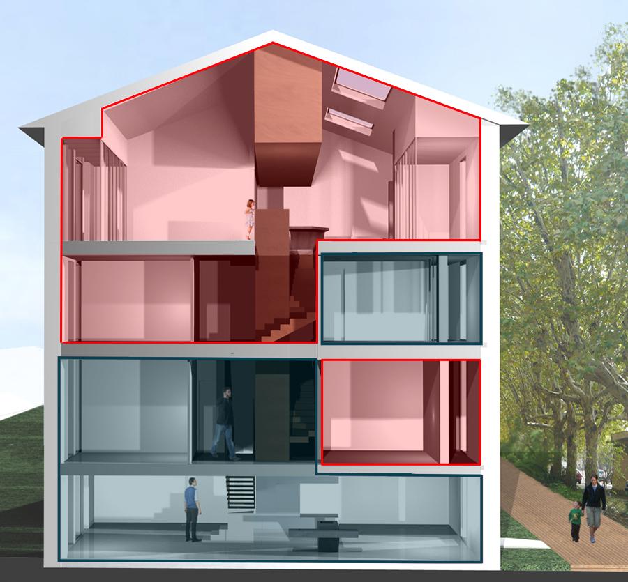 Mise en avant de l'architecture intérieure des deux appartements formant une maison autour d'un escalier