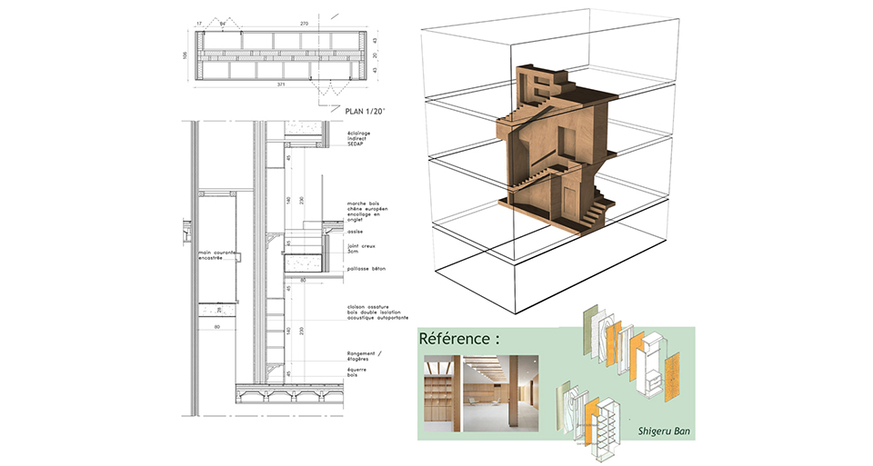 Plan escalier architecte interieur noesis détails
