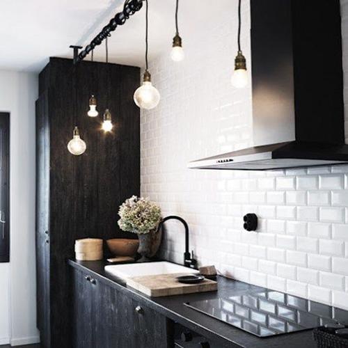Créde,ce carreau de ciment, cuisine noir mat, esprit vintage kinfolk