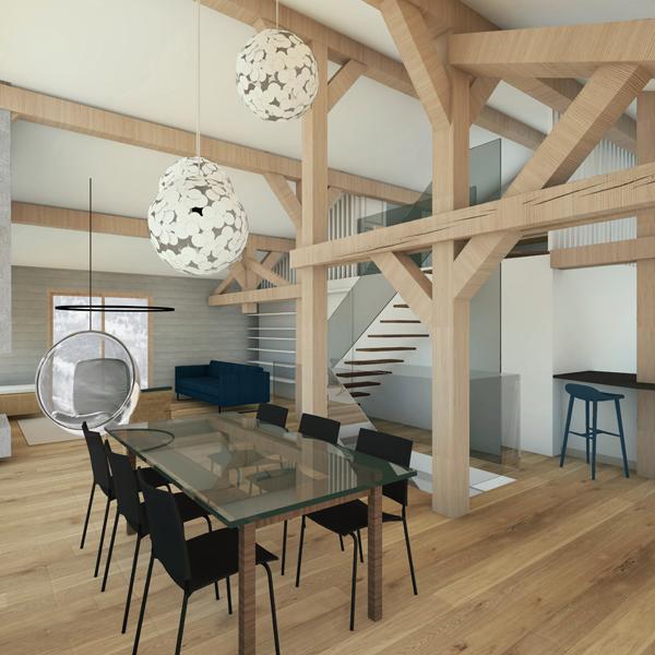 HOUCHES, Chalet contemporain - Visuel 3D - Salon salle à manger