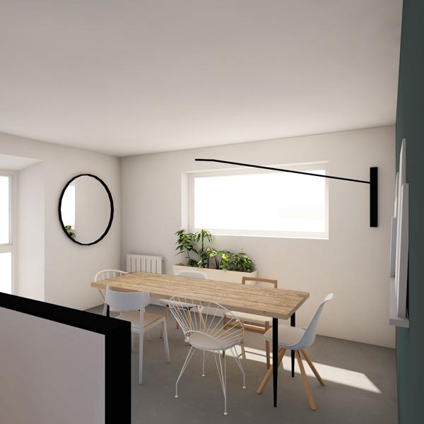 LIBELLULE - Décoration d'une salle à manger - Miroir rond et chaises dépareillées