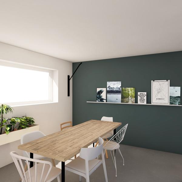 LIBELLULE - Décoration d'une salle à manger - Mur coloré et table en bois