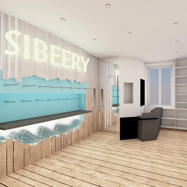 SIBEERY, Comptoir de la bière pression - Visuel 3D - Mur de bières et espace caisse