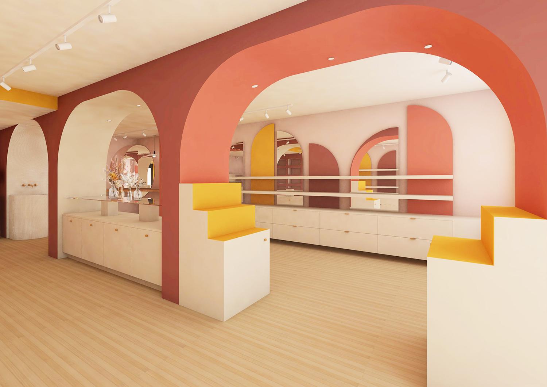 Perspective 3d montrant l'espace de la boutique depuis l'entrée