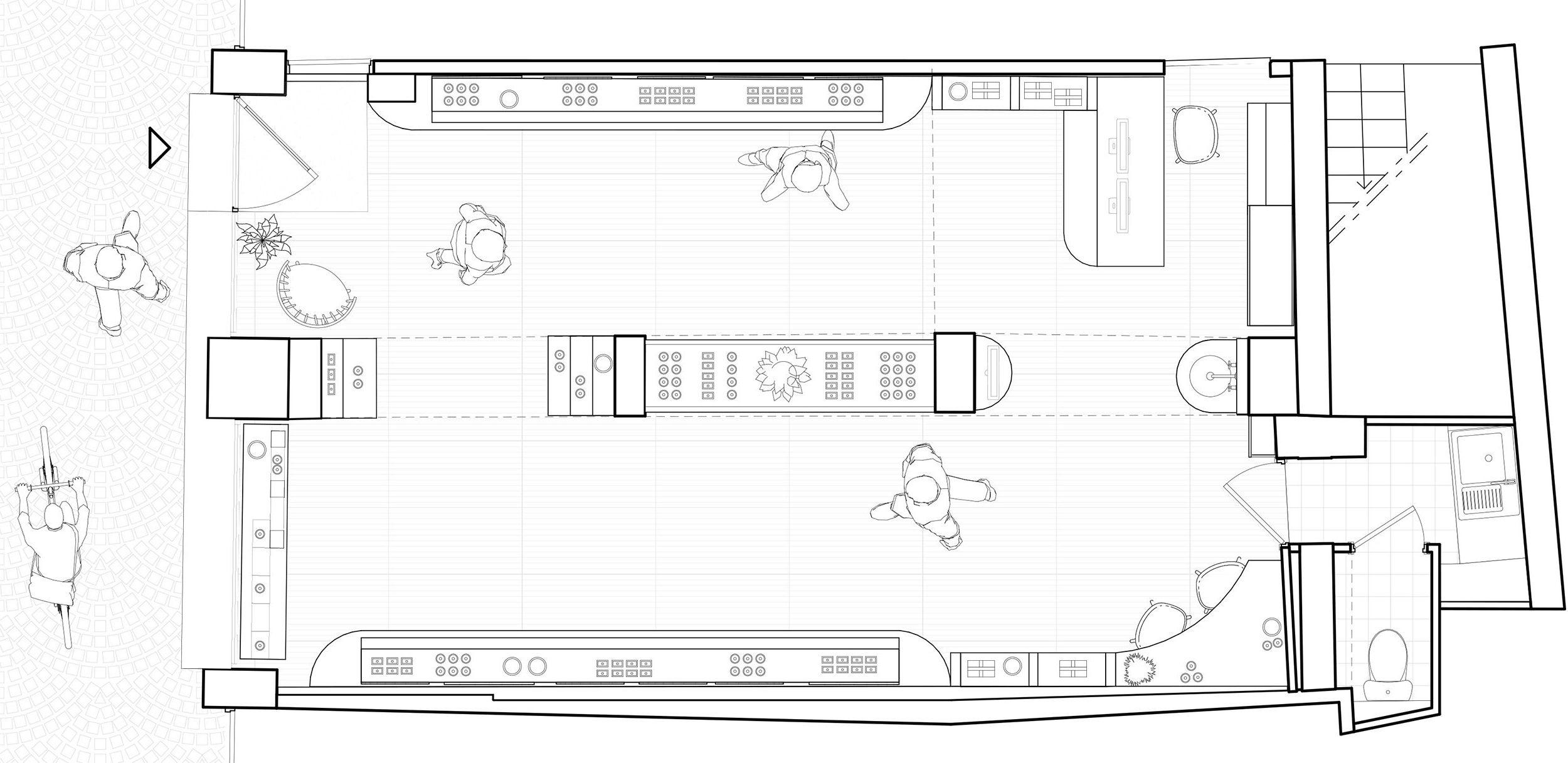 Plan d'organisation intérieur montrant la disposition des présentoirs en périphérie du local et un meuble bas central.