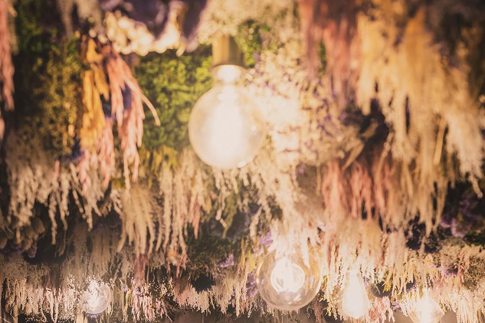 plafond en fleur sechées